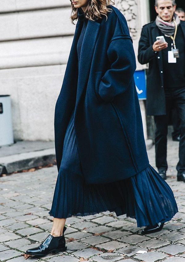 10 Outfits in a Flash: It's all about the shoes here combined with a pleated maxi and cocoon coat. Add in the mix of navy and black to elevate this look.