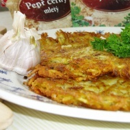 Bramboraky--potato pancakes.  Super delicious, and Nate can read the Czech.