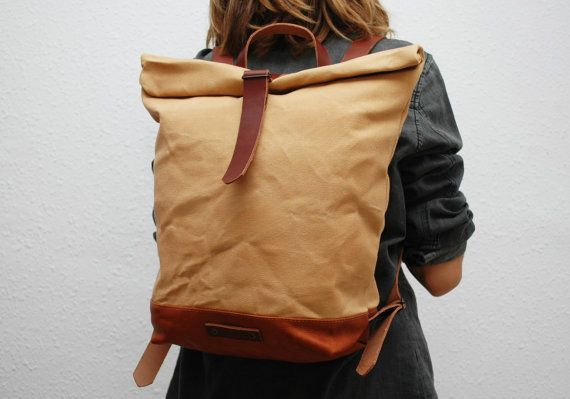waxed Canvas Backpack  sahara color hand by NATURALHERITAGEBAGS, €60.00