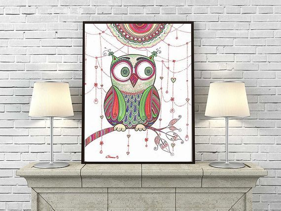 Abstract Zentangle Floral Art Owl Large Print, Unique Owl Poster, Baby Living Room Decor, Owl drawing, Owl illustration, Paisley Doodle Art by DHANAdesign on Etsy