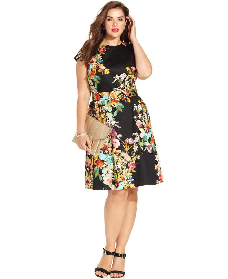spense plus size cap-sleeve floral-print a-line dress - dresses
