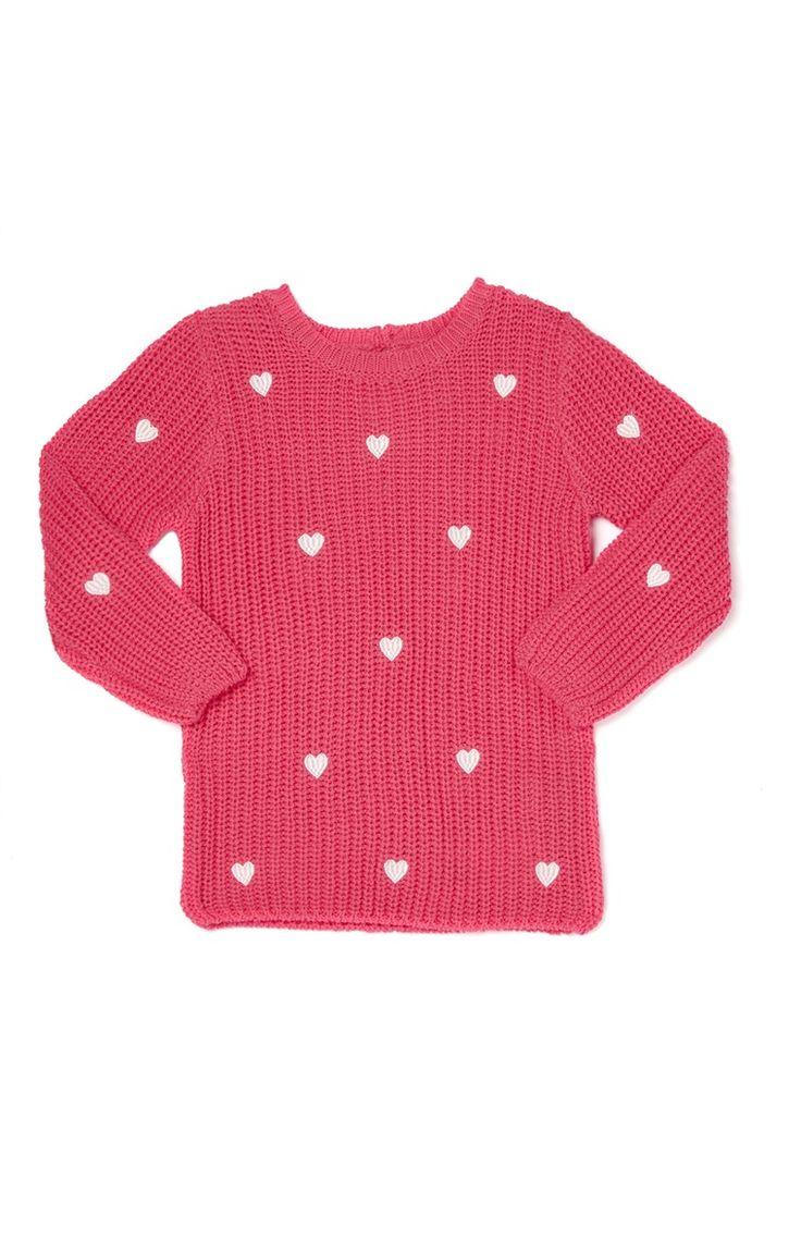 Primark - Gebreide roze ribtrui met hartjes