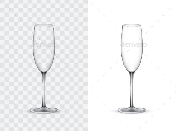Realistic Wine Gles Champagne Flute Vector Ilration Isolated On White And Transpa Background Mock Up Template Of Gl