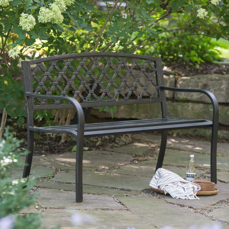 Great Coral Coast Crossweave Curved Back 4 Ft. Metal Garden Bench   Rugged And  Rustic
