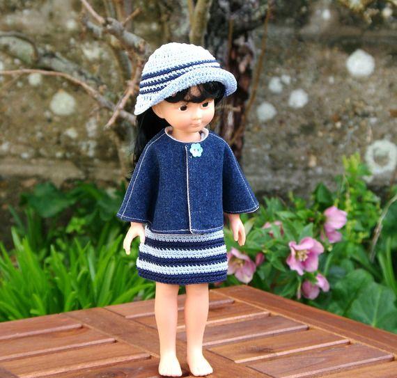 vêtements cape robe style marin et chapeau pour poupée type les Chéries de Corolle 32/33 cm