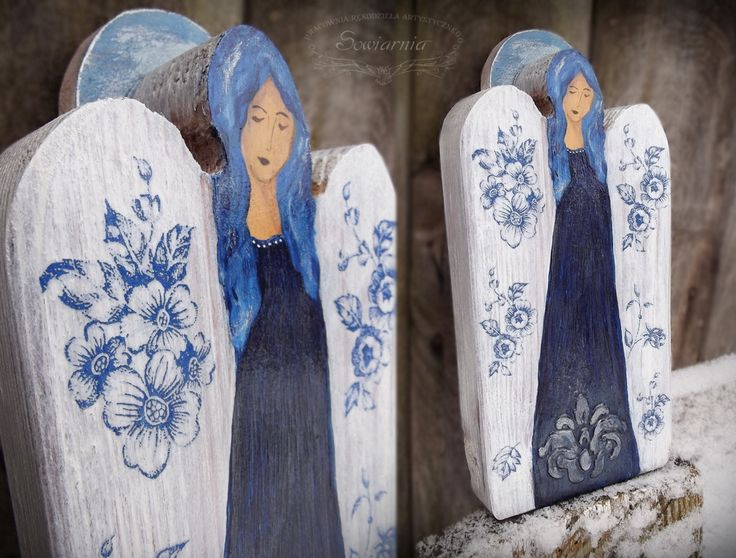 Blue angel with flowers, painted on reclaimed wood