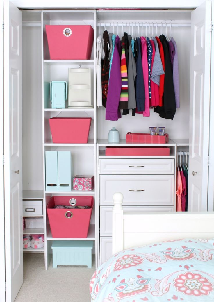 Just a Girl blogger did a closet makeover on her 10 year daughter's reach in closet. ClosetMaid Selectives featured. Sold at Home Depot.