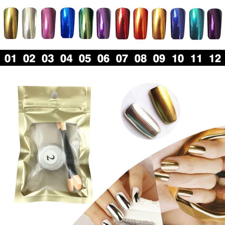 Diseño de moda del brillo del clavo del polvo de cromo espejo Holográfico esmalte de uñas brillo del arte del clavo Glitters Reflejando Pigmento de Manicura