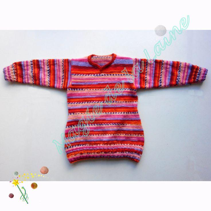 Pull Elisa, tricoté avec la laine 100% mérinos Knitcol d'Adriafil. Modèle et Kit tricot se trouvent dans notre boutique en ligne