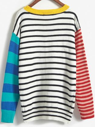 Shop Colour-block Striped Loose Sweater online. SheIn offers Colour-block Striped Loose Sweater & more to fit your fashionable needs.