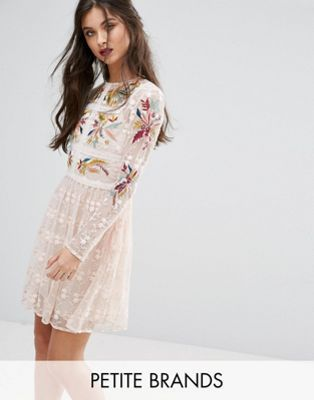 Frock and Frill Petite | Frock And Frill Petite Premium Embroidered Lace Mini Prom Skater Dress