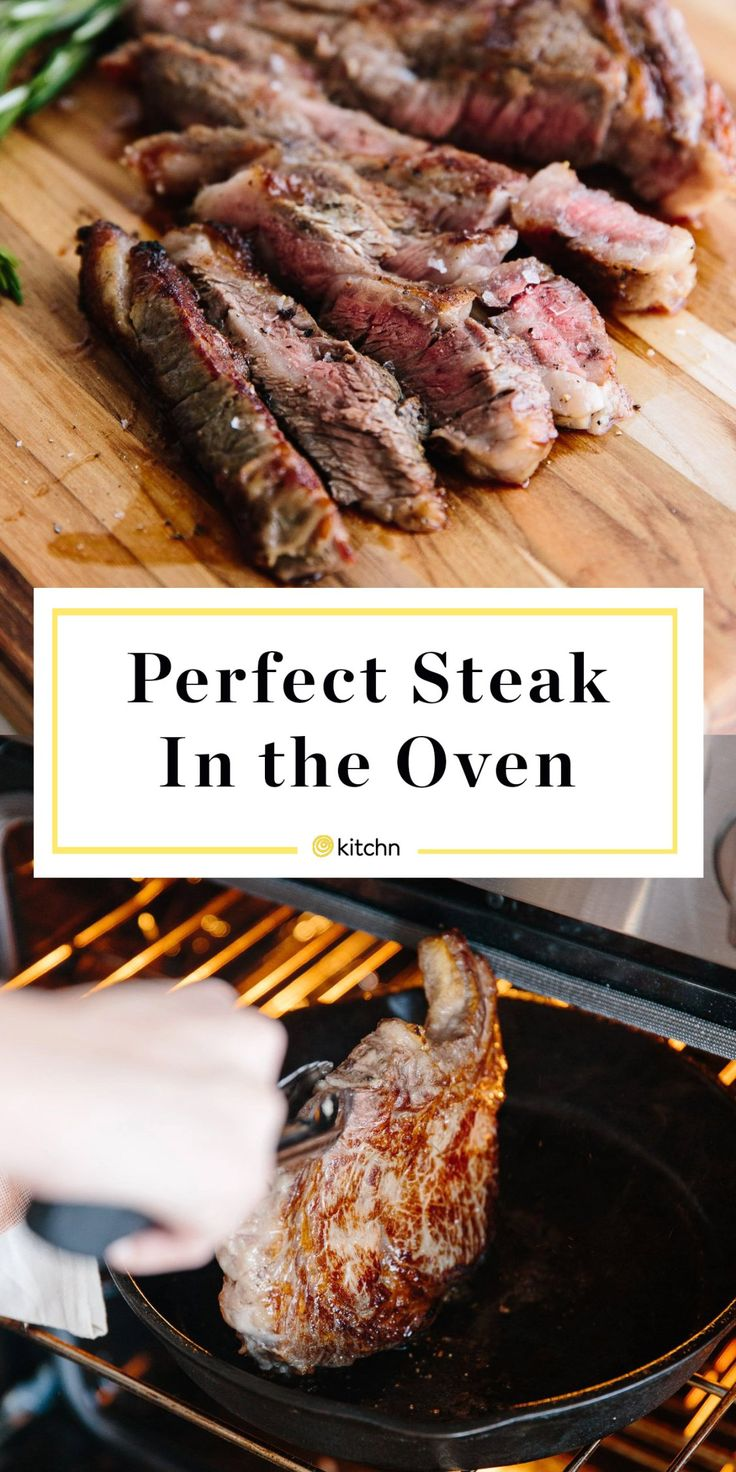 How to make perfect steak in the oven. Need recipes and ideas for weeknight dinners and meals, or ever for a romantic date night in for two? This easy and simple steak starts on the stovetop in a cast iron skillet to be pan seared, then is finished in the oven. Healthy, gluten free, and delicious! You'll need beef (ribeye, T-bone, filet mignon, or strip) seasonings, oil.