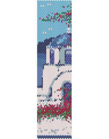 Schema peyote Santorini, paesaggio sul mare, case bianche e cupole blu, isola della Grecia, Cicladi, mare, sole, vacanze (pdf per bracciale) di AntosCreations su Etsy