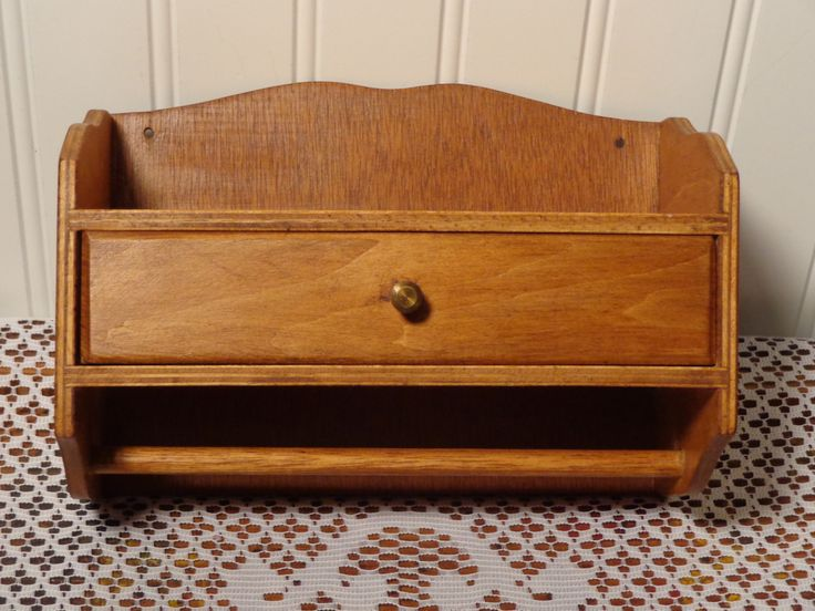 Vintage Wood Shelf with Drawer  -  Spice Rack with Drawer  -  16-077 by BubbiesMemories on Etsy