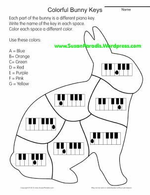 Easter bunny piano coloring page for music class freebie