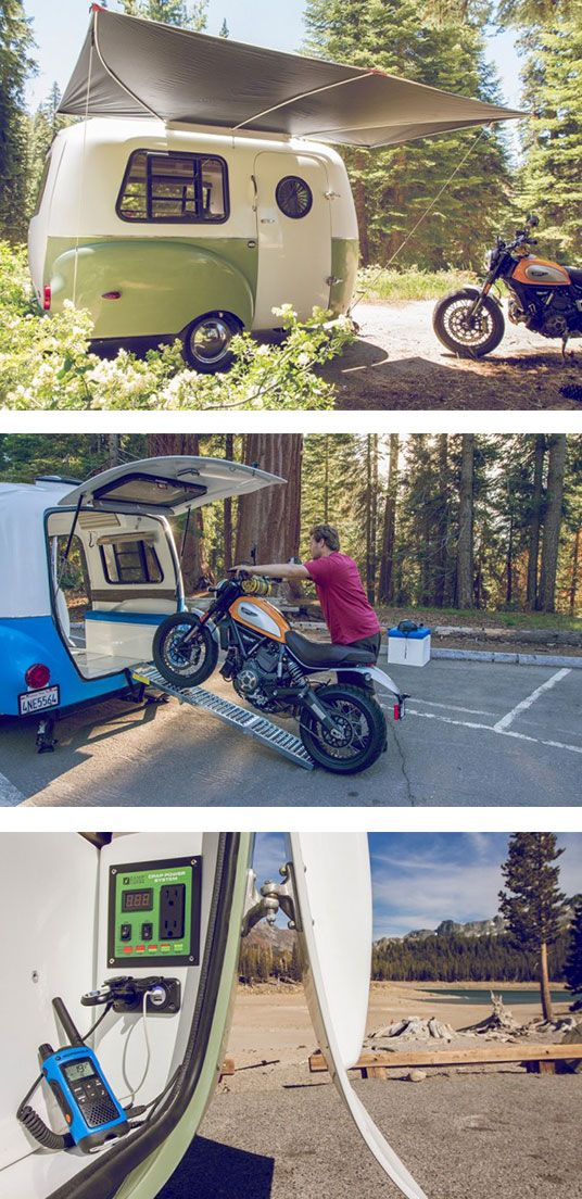 Pull this camper behind a Subaru!  The Happier Camper is a different kind of pull-behind. At just 1,100 pounds, you can tow it behind a lot of small cars, including the Subaru Outback, which has a towing capacity of 2,700 pounds. (Shoot, even some Ford Fusions can tow this trailer.)  The lighter weight will also be nice to the gas tank of bigger trucks and SUVs.