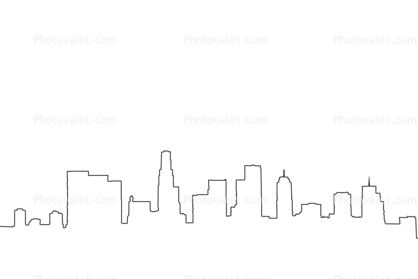Los Angeles downtown skyline outline, cityscape Images ...