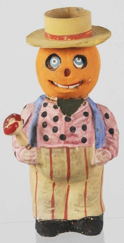 halloween pumpkin head man candy container - Antique Halloween Decorations