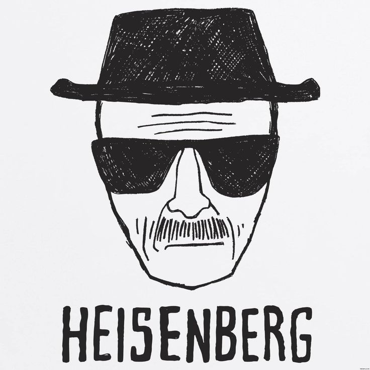 Heisenberg Drawing, drawing of walter white dressed as hisenberg