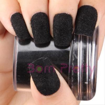 Fun Flocking Powder Manicure Nail Art Nail Polish- Black