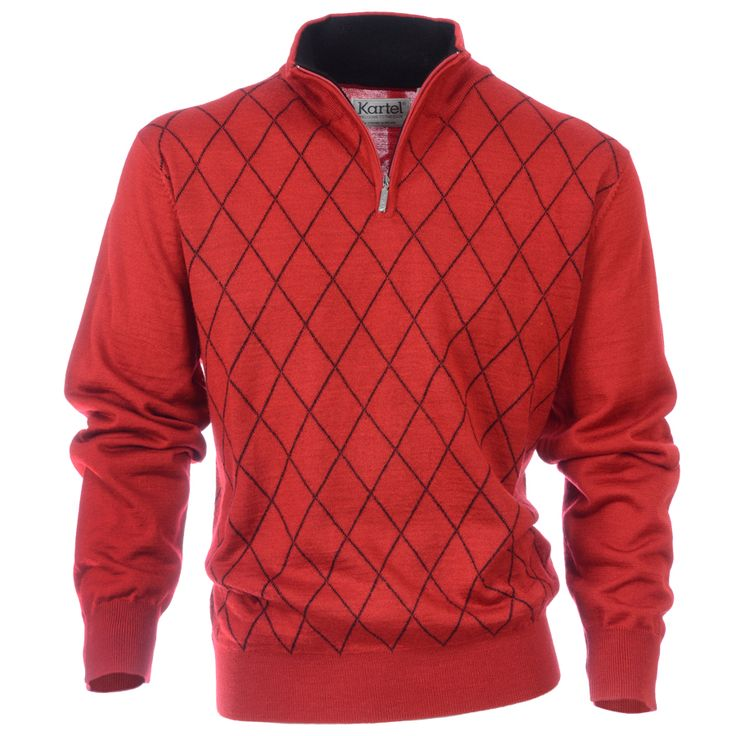 Golf Sweater with small diamond pattern design and accent on the inside collar