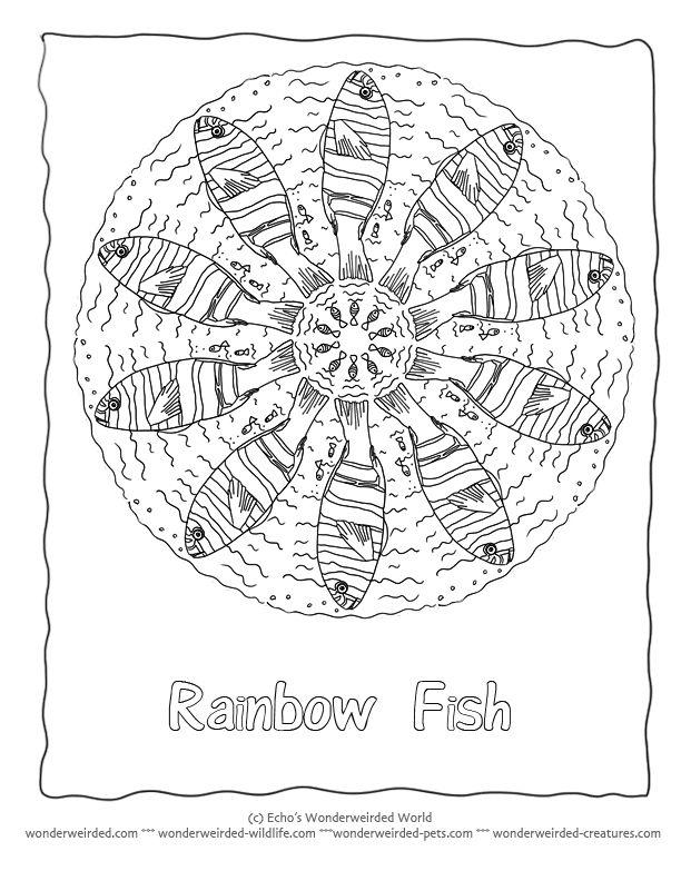Fish Mandala Coloring Sheet Rainbow