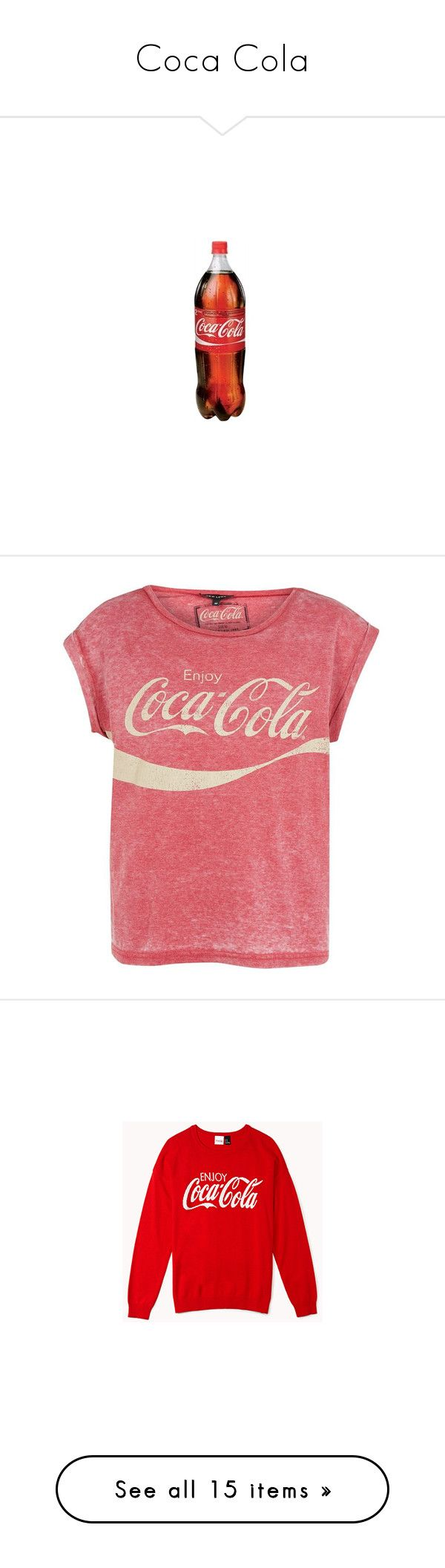 """""""Coca Cola"""" by swiftdirectioner-13 ❤ liked on Polyvore featuring accessories, gas jeans, tops, t-shirts, shirts, blusas, short sleeve shirts, red tee, short sleeve tee and burnout tees"""