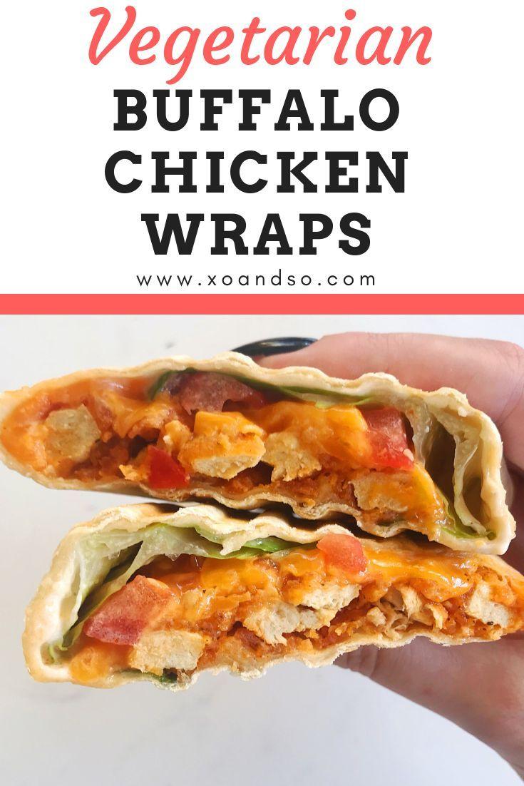 Vegetarian Buffalo Chicken Wrap Xo So Vegetarian Comfort Food Recipe Buffalo Chicken Wraps Vegetarian Comfort Food Vegetarian Chicken