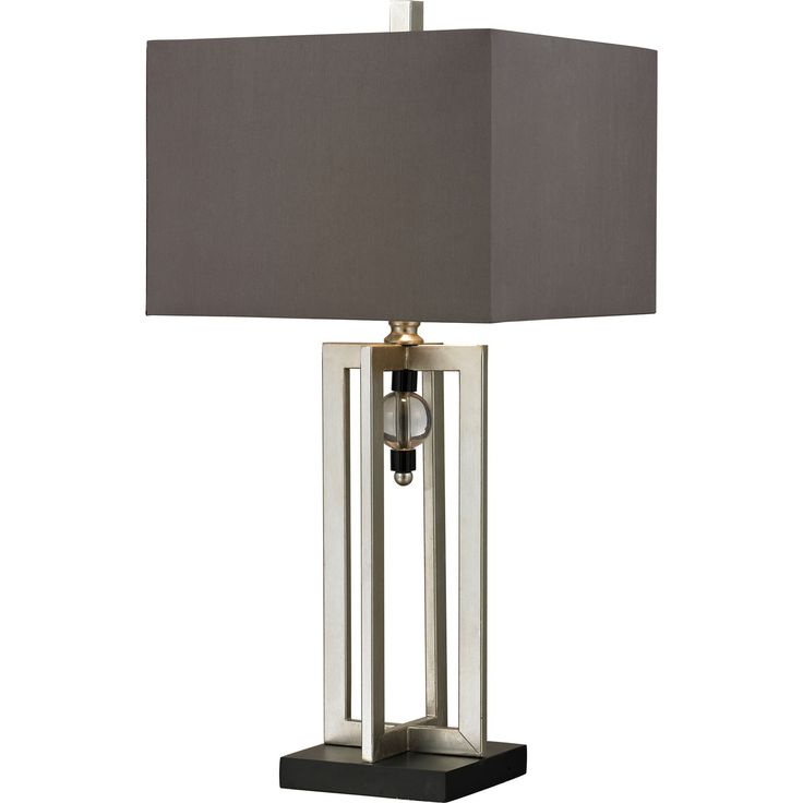 Silver Leaf Table Lamp with Crystal Accents and Gray Shade | Dimond Lighting | Home Gallery Stores