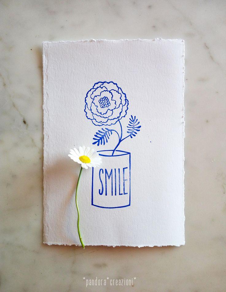 handcarved rubber stamp * flowerpot SMILE * pandora creazioni