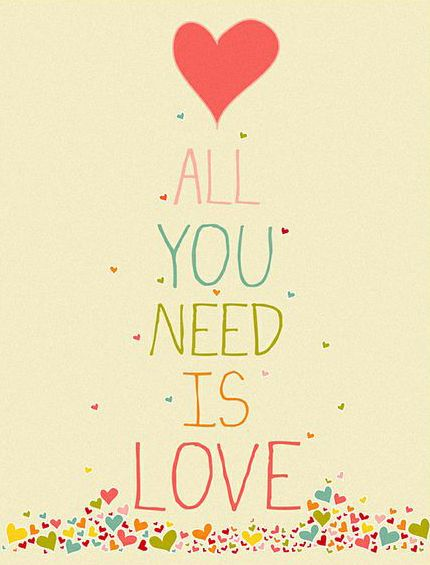 Pink & Cream 'All You Need is Love' Giclée Print