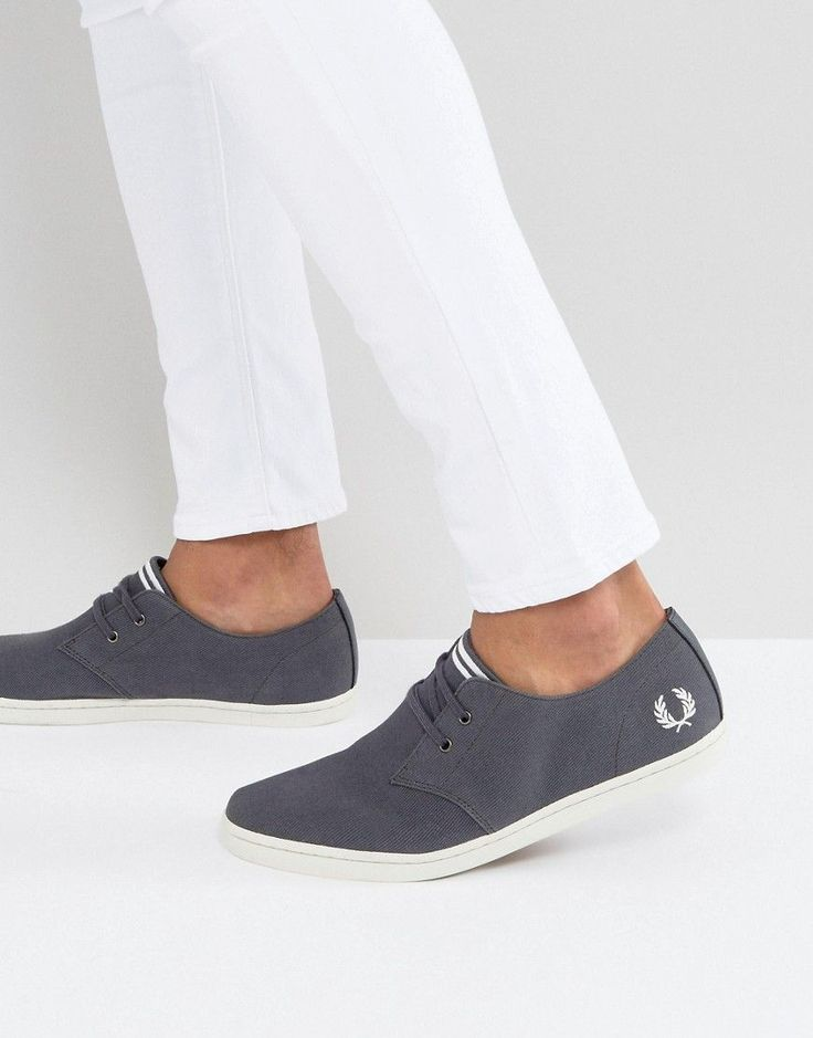 Fred Perry Byron Low Twill Sneakers in Charcoal - Gray