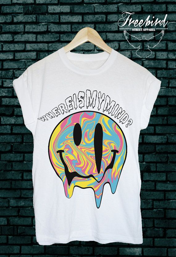 Where is my mind? Beautiful smiley faced colour print on a soft, cotton tee. Available in sizes small - xl (Please send me a note of your