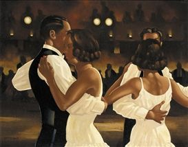 Artwork by Jack Vettriano, IN THE HEAT OF THE NIGHT, Made of oil on board