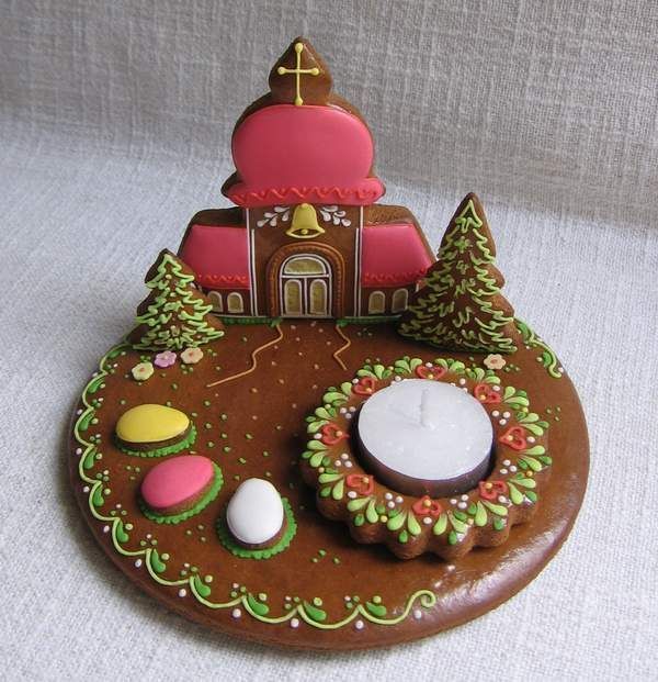 Gingerbread:  Spring Church with candle: