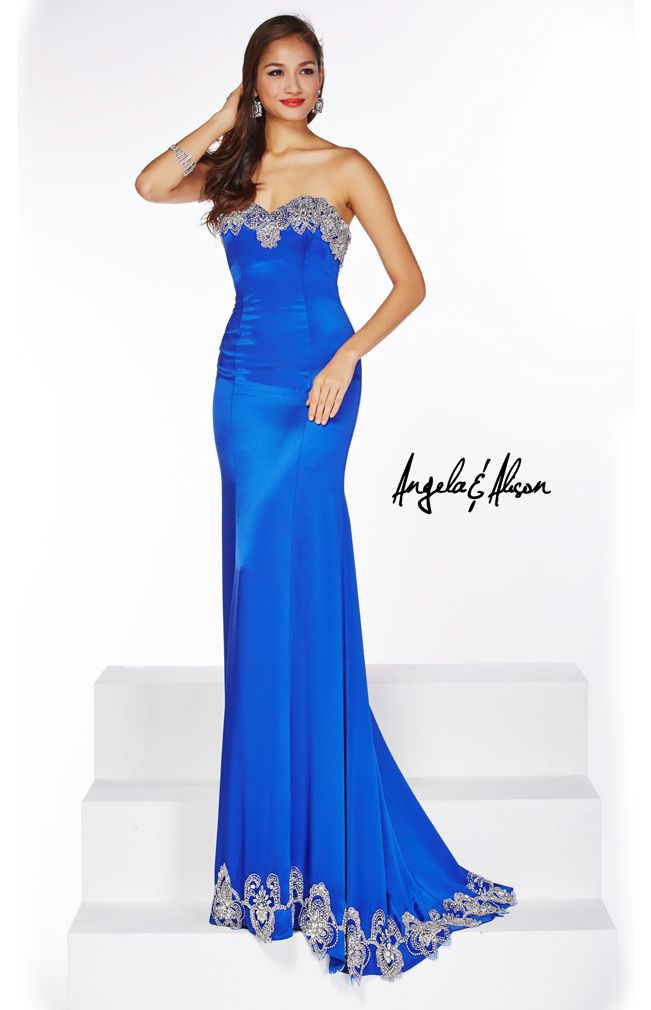 Style 51083 Sweetheart neckline with silver lace detailing on the top and bottom, satin gown.   prom, homecoming, pageants, and formal