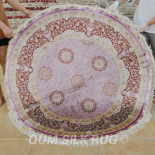 QUM SILK RUG Round Silk Rug Small Size 5x5ft Light Purple... Https: