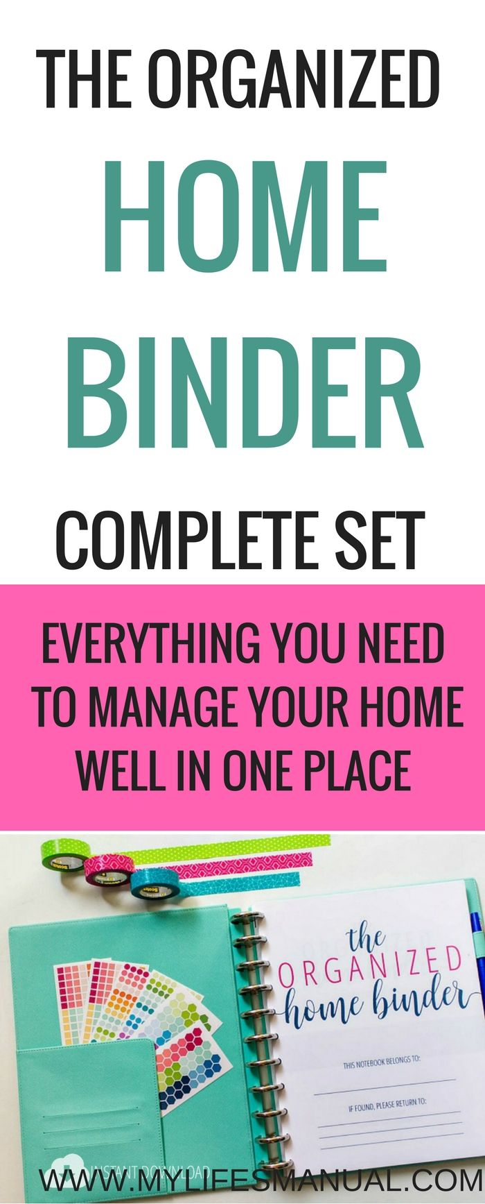 Managing your home should not be stressful. Home management binder is all you need. #goals #homemanagement #moms affiliate link