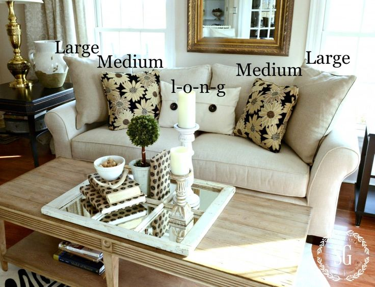 HOW TO DISPLAY PILLOWS---->Choose 2 large 24 inch pillows for the outside of your sofa. Choose 2 medium 18 0r 20 inch pillows to go next to them and a long 20 x 26 inch pillow to sit in the middle of the sofa! If creating a fabulous pillow arrangement for your sofa is sort new to you, keep your colors solid and it would be a great idea to keep pillows neutral.