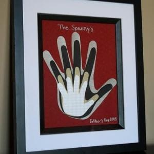 Family handprints framed art