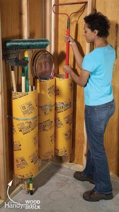 Garage Storage Cardboard concrete-forming tubes are inexpensive ($7 at any home center) and provide a great place to store baseball bats, long-handled tools and rolls of just about anything. Rest the tubes on a piece of 2×4 to keep them high and dry. Secure each tube to a garage stud with a plumbing strap.