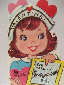 Vintage Valentine Card Ginger RN Nurse Chart U Make My Temperature Rise UNUSED