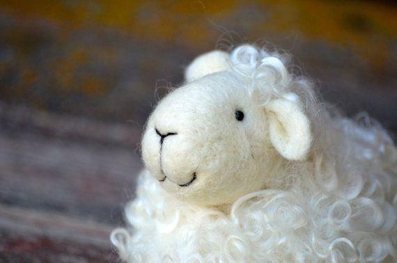 Oveja  cordero de aguja de fieltro de lana  agujas de