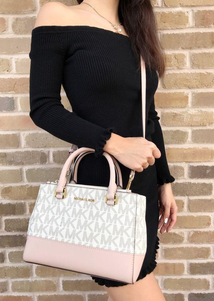 84114bf76ea23a Michael Kors Kellen XS Satchel Vanilla MK Signature Ballet Pink Crossbody  Bag #MichaelKors #Satchel