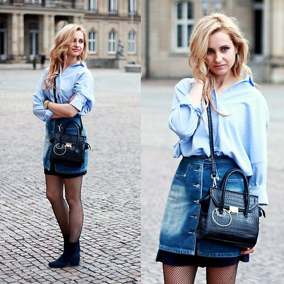 Get this look: http://lb.nu/look/8648293  More looks by Adriana M.: http://lb.nu/lilicons  Items in this look:  Bershka Blue Shirt Dress, Zara Small Shopper Bag, H&M Navy Velvet Boots   #casual #preppy #street #streetstyle #lookbook #lookbooker #today #outfit #blogger