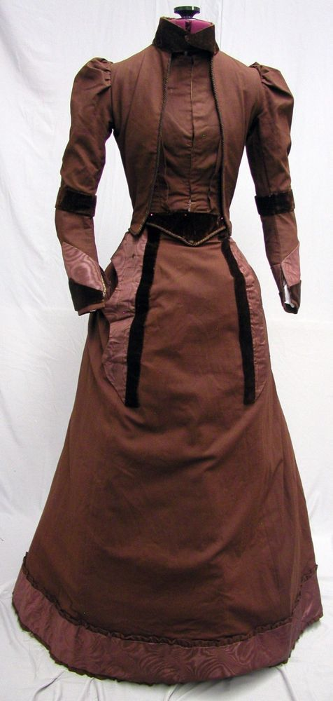 #17156, 1890's Brown Wool - Velvet - Silk Moire Traveling Ensemble #TravelingEnsemble #Traveling