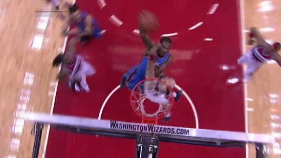 Watch Kevin Durant punch this poster dunk home on Marcin Gortat with a little extra on it.