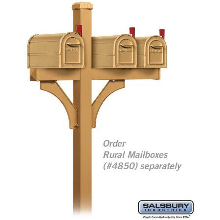 Salsbury Industries Deluxe Mailbox Post, 2-Sided For 3 Mailboxes, In-Ground Mounted, Gold