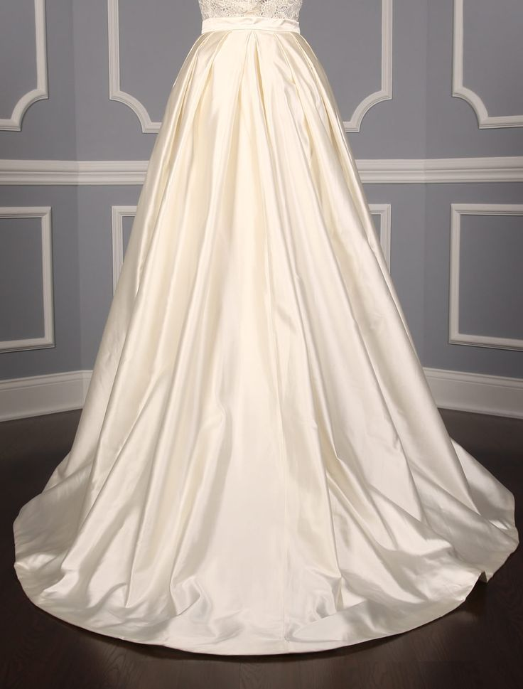 This 100& Authentic, New Francesca Miranda Etna wedding dress is a gown plus an overskirt. The perfect way to achieve two looks with one gown!  You will love this gown even more in person!  Now up to 90% Off Retail! #francescamiranda