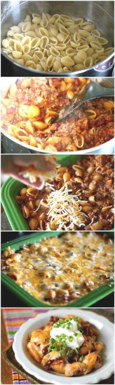 Chili Pasta Bakehttp://tastykitchen.com/recipes/main-courses/chili-pasta-bake-2/